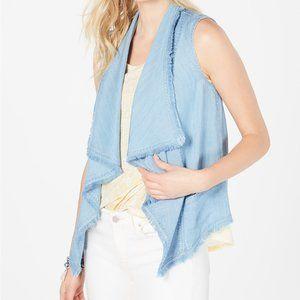 Style & Co Draped-Front Frayed-Hem Vest - M